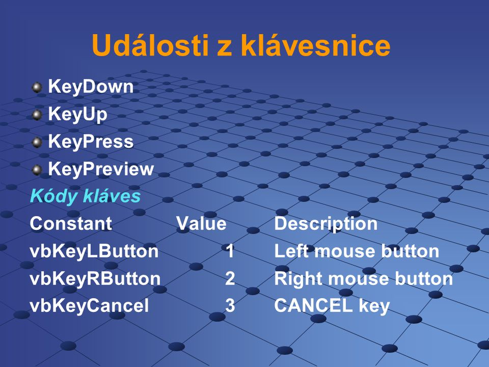 Události z klávesnice KeyDown KeyUp KeyPress KeyPreview Kódy kláves ConstantValueDescription vbKeyLButton1Left mouse button vbKeyRButton2Right mouse b