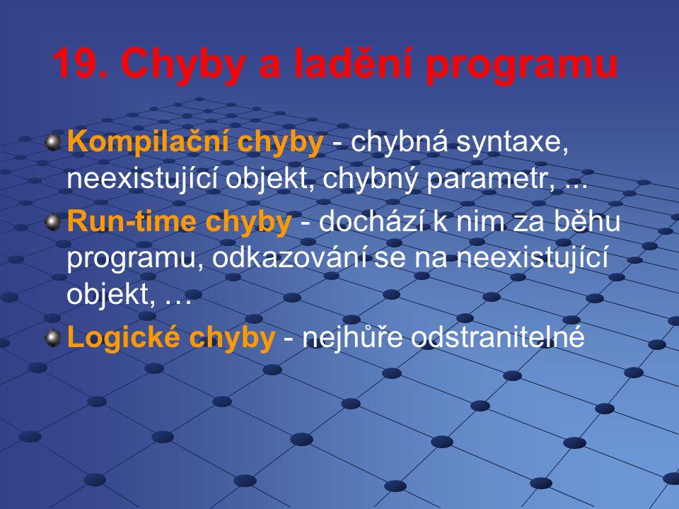 Události z klávesnice KeyDown KeyUp KeyPress KeyPreview Kódy kláves ConstantValueDescription vbKeyLButton1Left mouse button vbKeyRButton2Right mouse button vbKeyCancel3CANCEL key