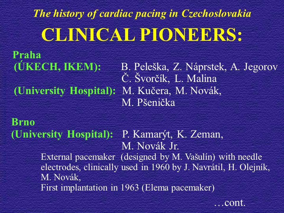 CLINICAL PIONEERS: Praha (ÚKECH, IKEM): B. Peleška, Z. Náprstek, A. Jegorov Č. Švorčík, L. Malina (University Hospital): M. Kučera, M. Novák, M. Pšeni