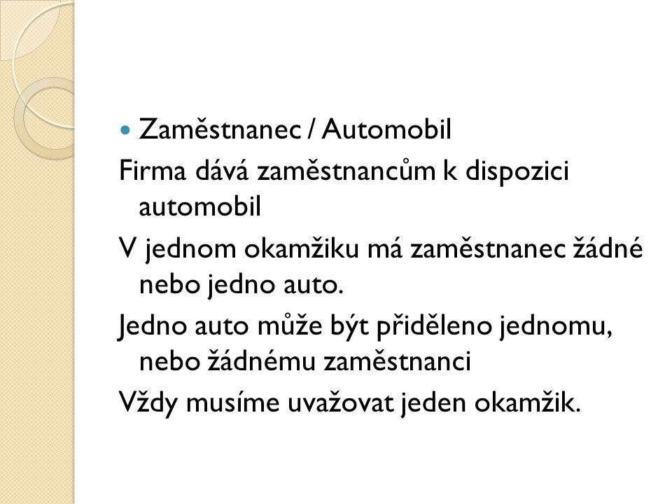Zaměstnanec / Automobil Firma dává zaměstnancům k dispozici automobil V jednom okamžiku má zaměstnanec žádné nebo jedno auto. Jedno auto může být přid
