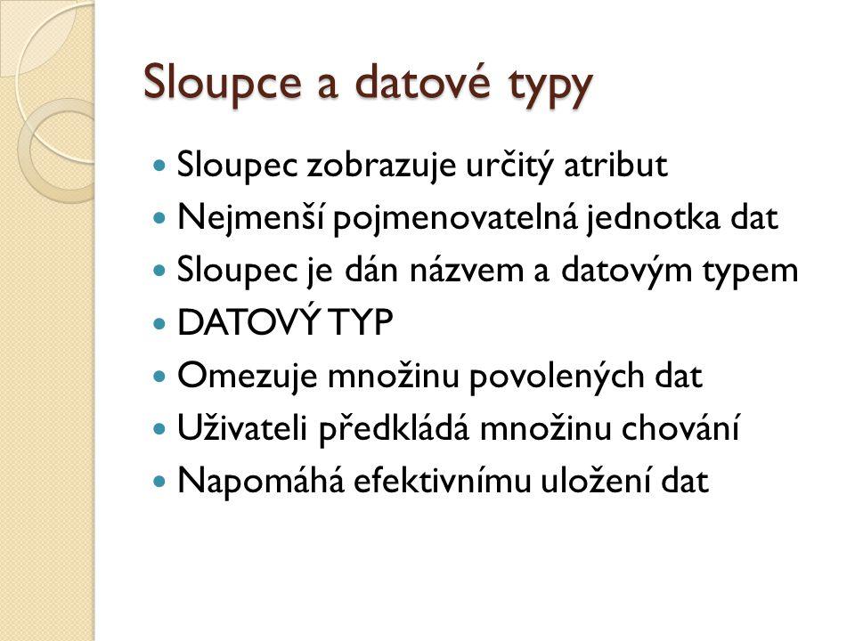 Sloupce a datové typy Sloupec zobrazuje určitý atribut Nejmenší pojmenovatelná jednotka dat Sloupec je dán názvem a datovým typem DATOVÝ TYP Omezuje m