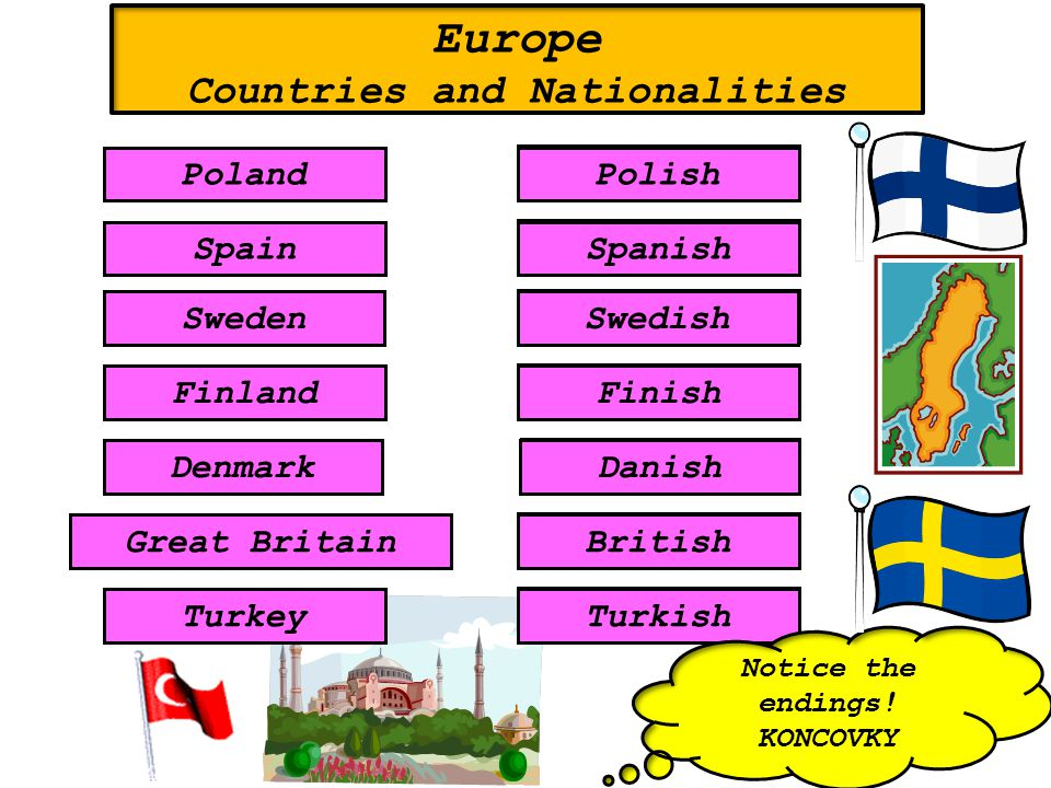 Spanish Turkish Finish Swedish Danish Polish British SpainSpanish TurkeyTurkish Finland Sweden Finish Swedish DenmarkDanish PolandPolish Great BritainBritish Europe Countries and Nationalities Notice the endings.