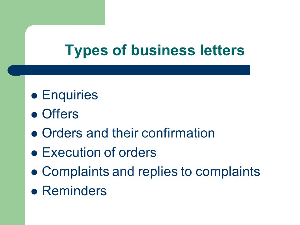 Parts of a business letter The heading and the date The inside address The salutation The body of the letter The complimentary close The signature