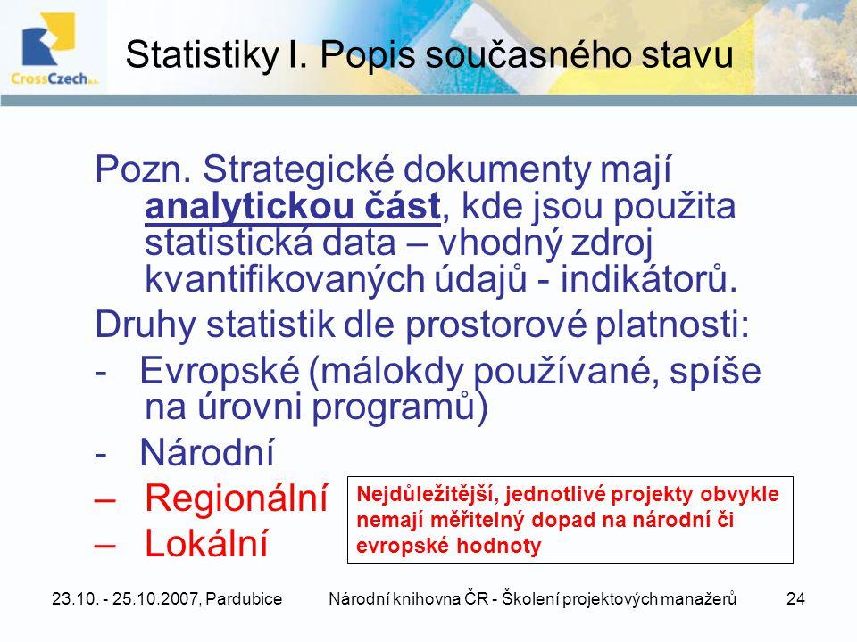 23.10. - 25.10.2007, PardubiceNárodní knihovna ČR - Školení projektových manažerů24 Statistiky I.