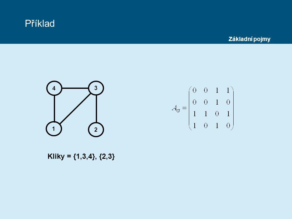 Příklad 4 1 2 3 Základní pojmy Kliky = {1,3,4}, {2,3}