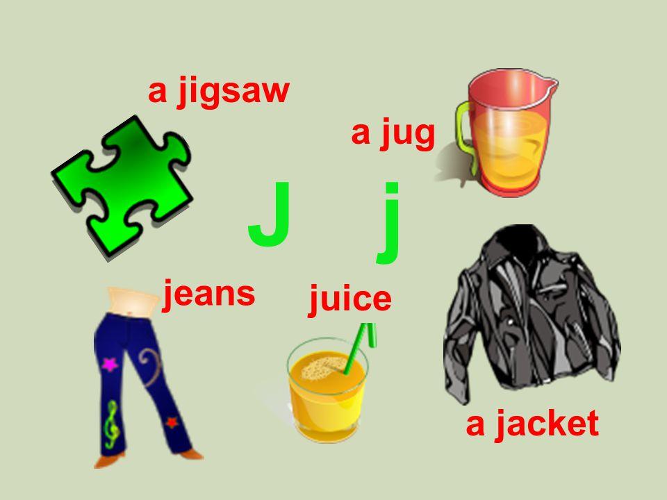 J j a jigsaw a jug jeans a jacket juice