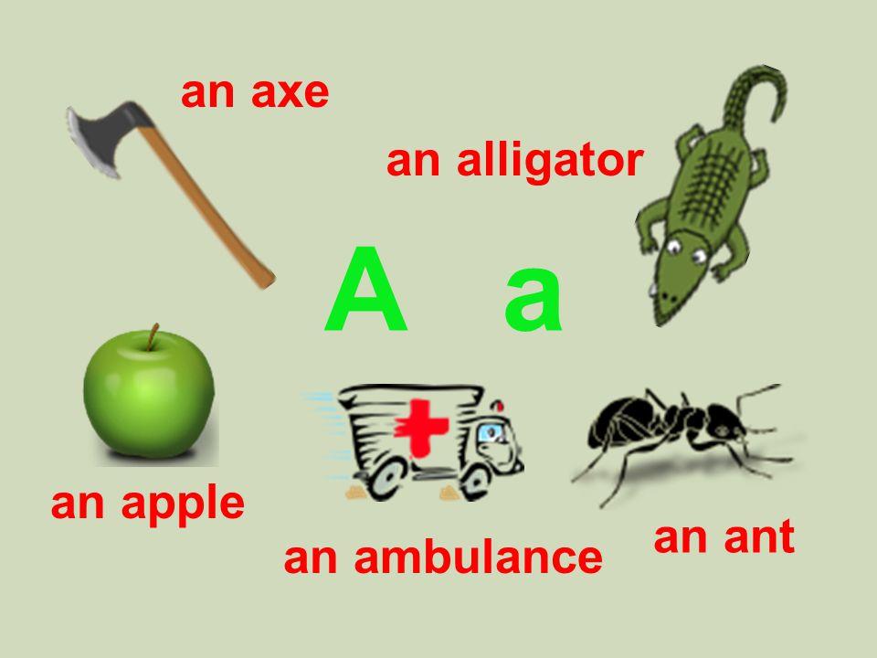 A a an axe an ant an apple an alligator an ambulance