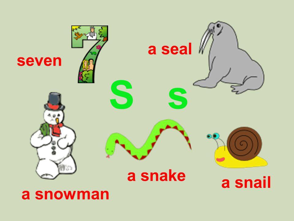 S s a snowman a snake a snail seven a seal