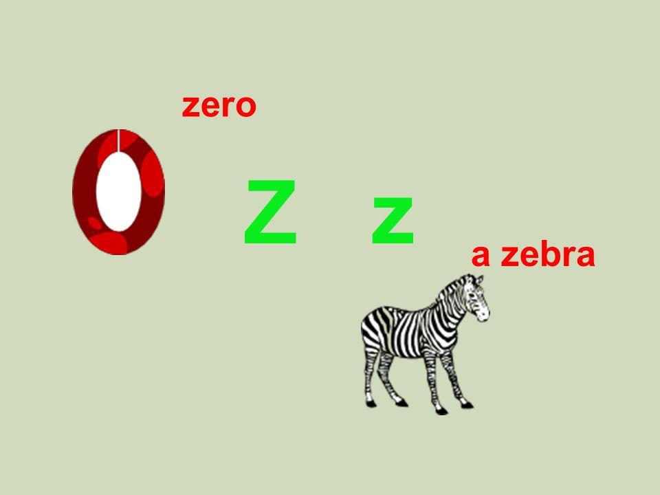 Z z a zebra zero