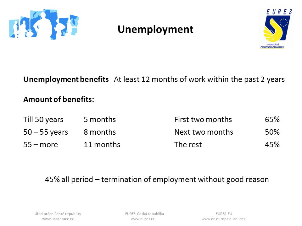 Úřad práce České republikyEURES Česká republikaEURES EU www.uradprace.cz www.eures.cz www.ec.europa.eu/eures Unemployment Unemployment benefits At least 12 months of work within the past 2 years Amount of benefits: Till 50 years 5 monthsFirst two months65% 50 – 55 years8 monthsNext two months50% 55 – more11 monthsThe rest45% 45% all period – termination of employment without good reason