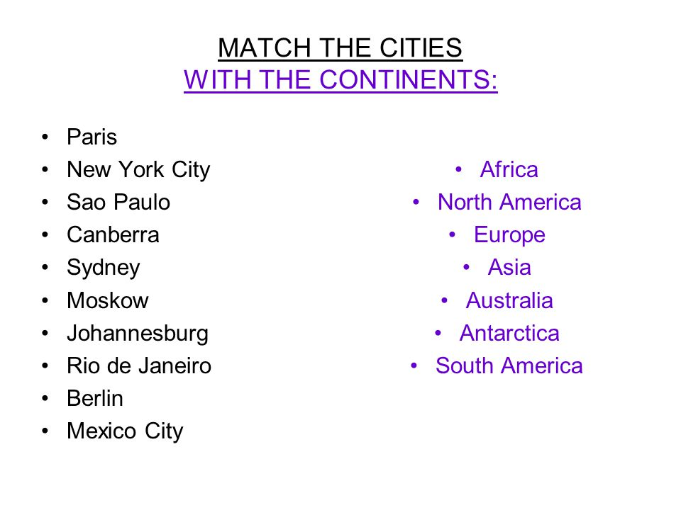 MATCH THE CITIES WITH THE CONTINENTS: Paris New York City Sao Paulo Canberra Sydney Moskow Johannesburg Rio de Janeiro Berlin Mexico City Africa North