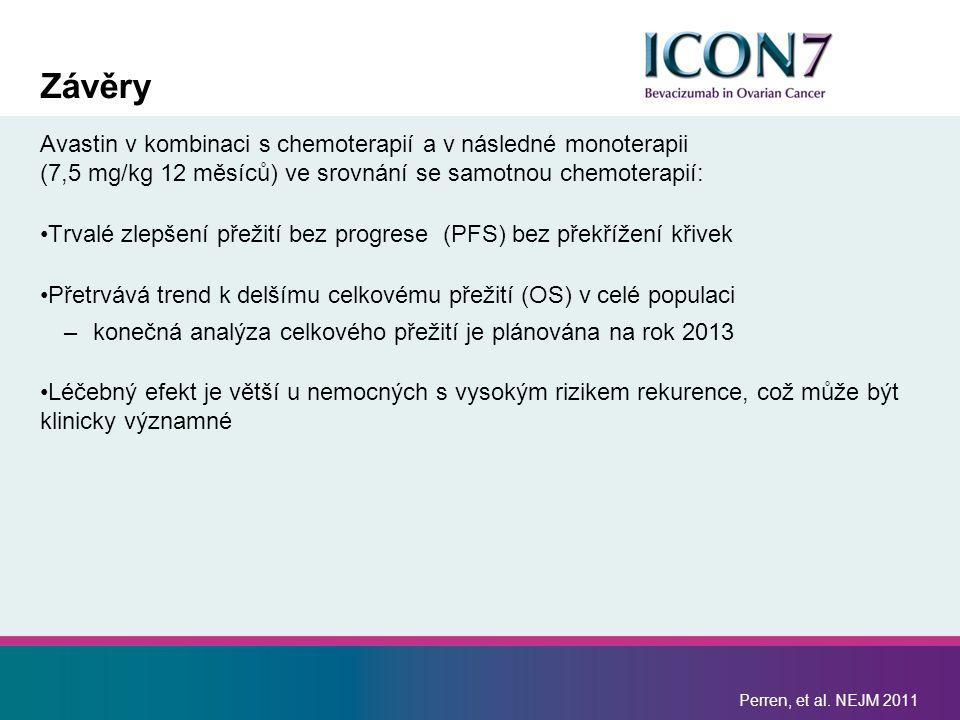 Závěry Avastin v kombinaci s chemoterapií a v následné monoterapii (7,5 mg/kg 12 měsíců) ve srovnání se samotnou chemoterapií: Trvalé zlepšení přežití bez progrese (PFS) bez překřížení křivek Přetrvává trend k delšímu celkovému přežití (OS) v celé populaci –konečná analýza celkového přežití je plánována na rok 2013 Léčebný efekt je větší u nemocných s vysokým rizikem rekurence, což může být klinicky významné Perren, et al.