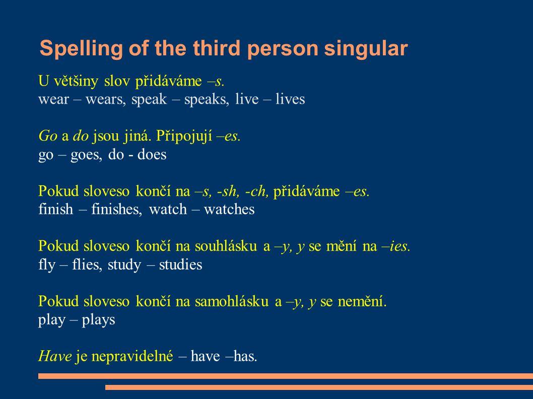 Spelling of the third person singular U většiny slov přidáváme –s.