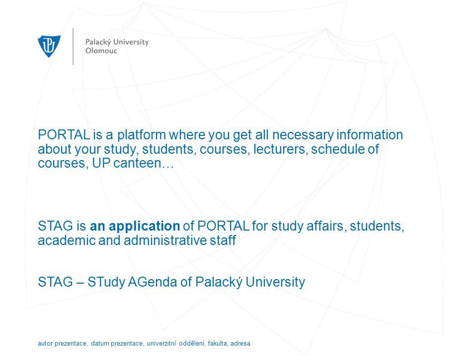 Portal STAG has a public and nonpublic part.Nonpublic part requires login.