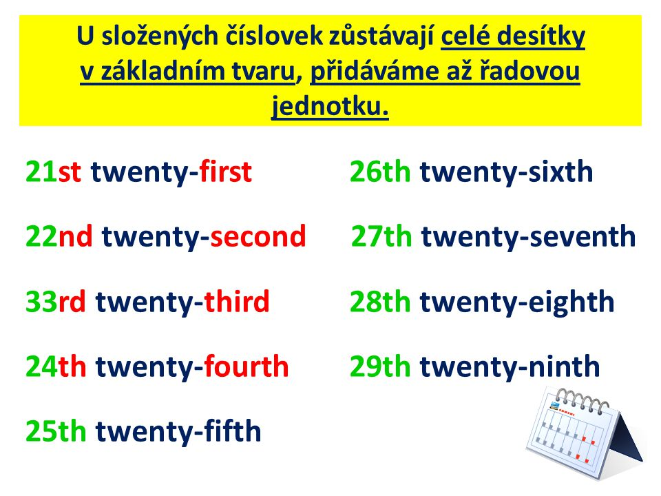 21st twenty-first 26th twenty-sixth 22nd twenty-second 27th twenty-seventh 33rd twenty-third 28th twenty-eighth 24th twenty-fourth 29th twenty-ninth 25th twenty-fifth U složených číslovek zůstávají celé desítky v základním tvaru, přidáváme až řadovou jednotku.