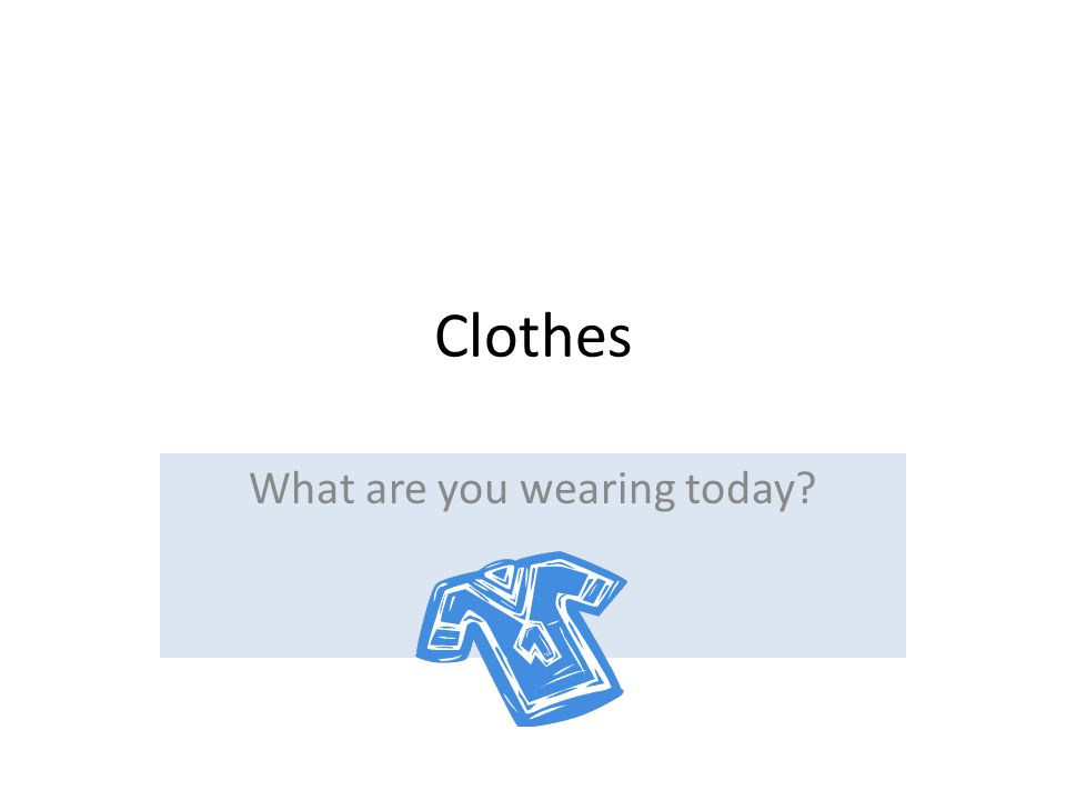 Clothes What are you wearing today?