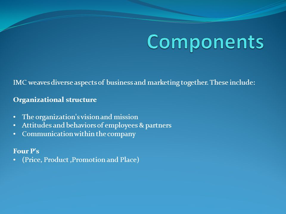IMC weaves diverse aspects of business and marketing together.
