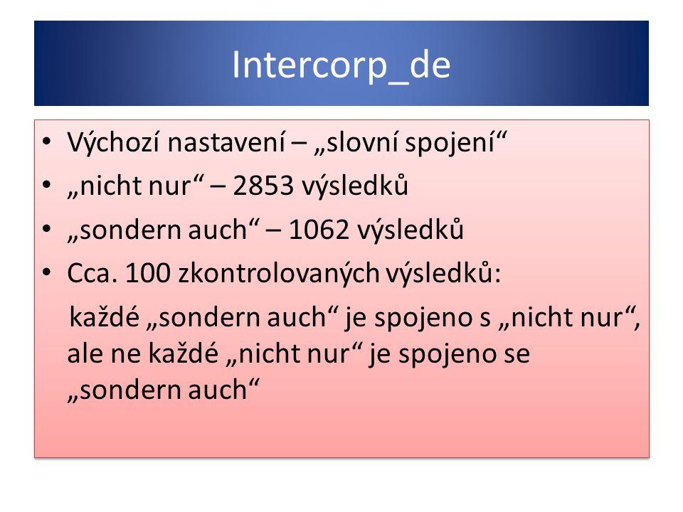 """Intercorp_de Výchozí nastavení – """"slovní spojení"""" """"nicht nur"""" – 2853 výsledků """"sondern auch"""" – 1062 výsledků Cca. 100 zkontrolovaných výsledků: každé"""