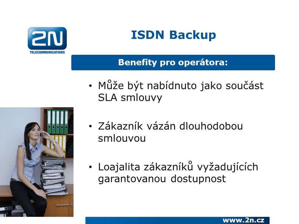 Benefity pro operátora: www.2n.cz Může být nabídnuto jako součást SLA smlouvy Zákazník vázán dlouhodobou smlouvou Loajalita zákazníků vyžadujících garantovanou dostupnost ISDN Backup