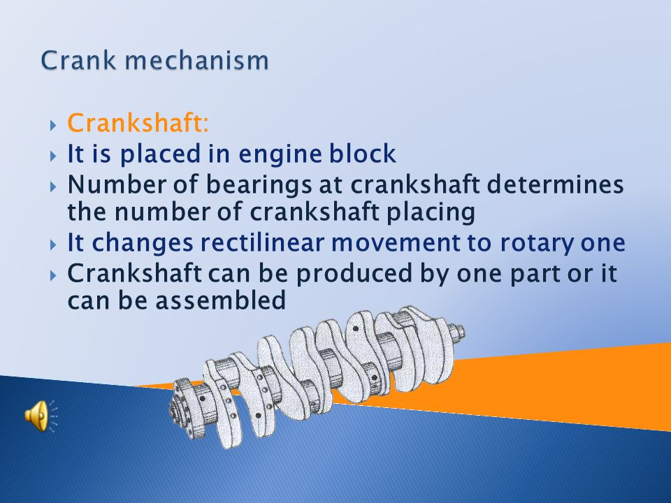 Crank mechanism:  Crankshaft  Piston rod  Piston pin  Piston rings  Piston  Engine distribution:  Camshaft  Valve rod  Cam follower  Suction and exhaust valve  Types of distributors  OHC  OHV