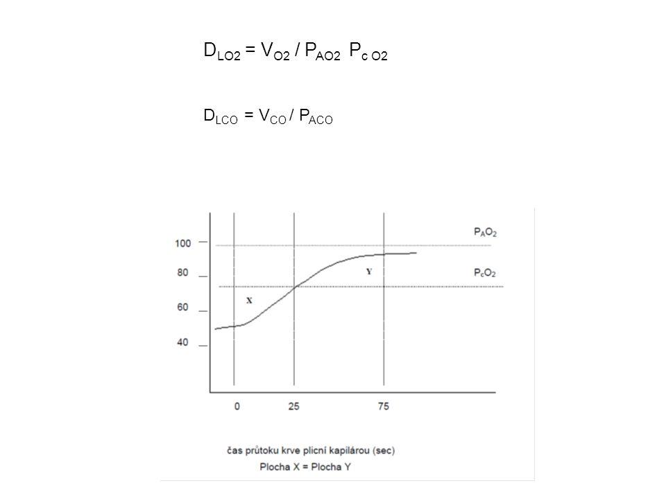 D LO2 = V O2 / P AO2 P c O2 D LCO = V CO / P ACO