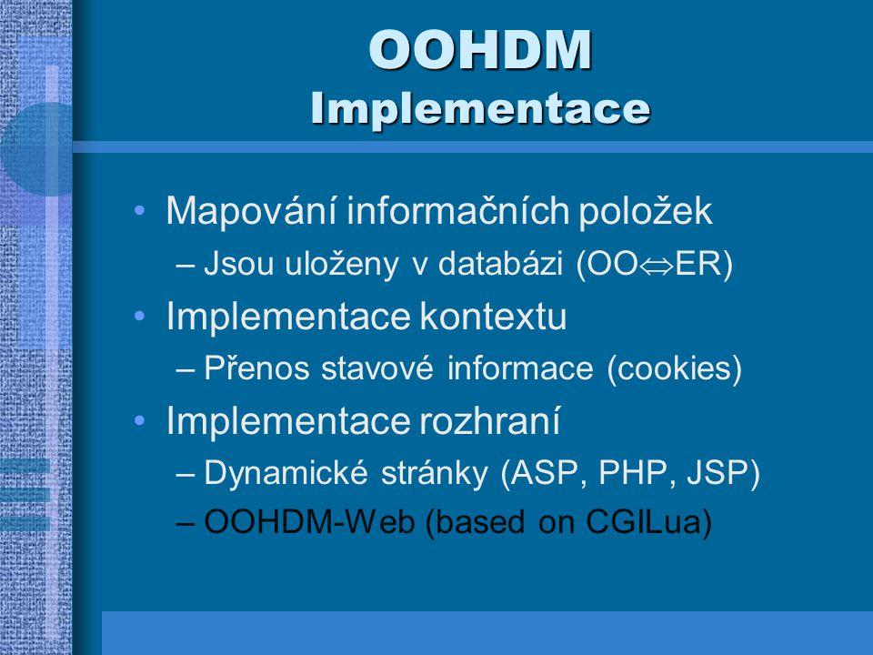 OOHDM Implementace Mapování informačních položek –Jsou uloženy v databázi (OO  ER) Implementace kontextu –Přenos stavové informace (cookies) Implementace rozhraní –Dynamické stránky (ASP, PHP, JSP) –OOHDM-Web (based on CGILua)