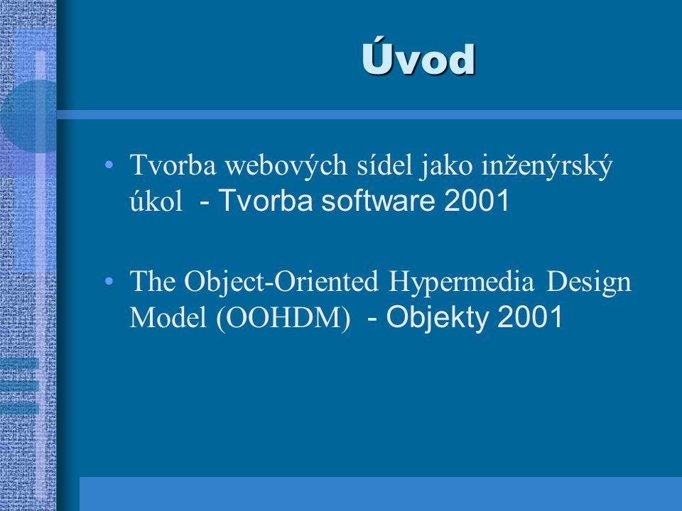 Úvod Tvorba webových sídel jako inženýrský úkol - Tvorba software 2001 The Object-Oriented Hypermedia Design Model (OOHDM) - Objekty 2001