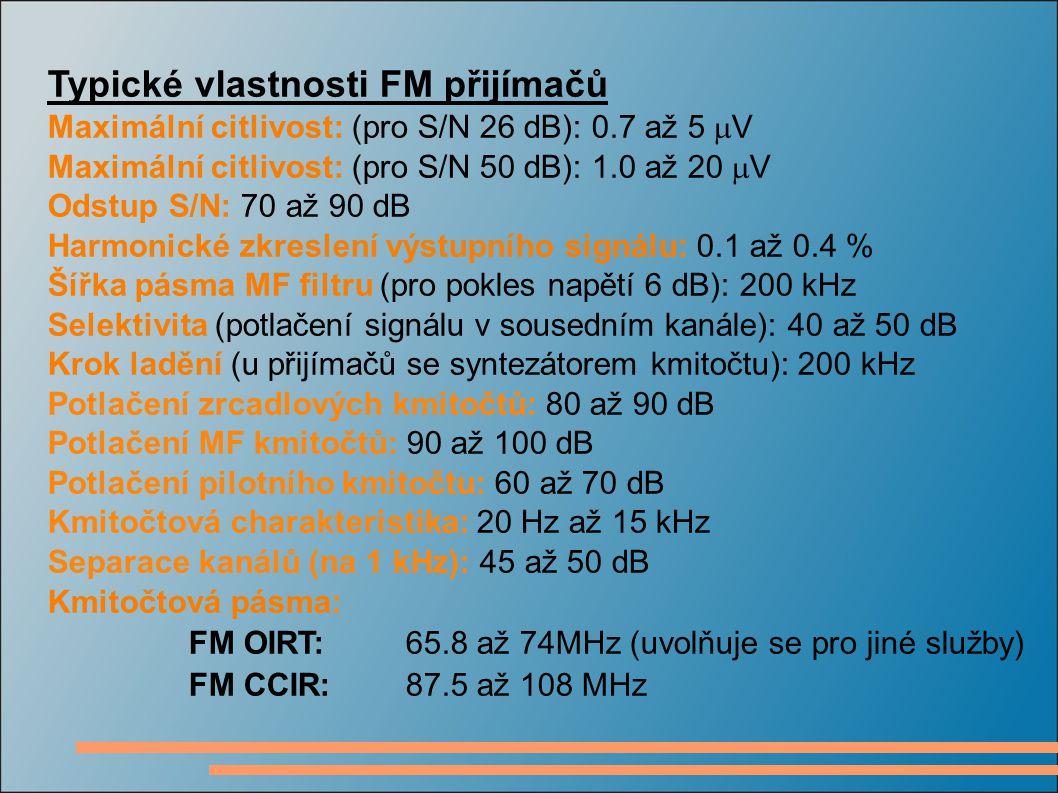 Typické vlastnosti FM přijímačů Maximální citlivost: (pro S/N 26 dB): 0.7 až 5  V Maximální citlivost: (pro S/N 50 dB): 1.0 až 20  V Odstup S/N: 70