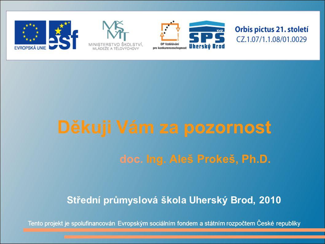 Děkuji Vám za pozornost doc. Ing. Aleš Prokeš, Ph.D. Tento projekt je spolufinancován Evropským sociálním fondem a státním rozpočtem České republiky S