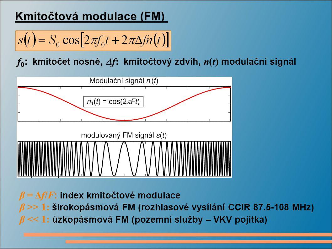 Kmitočtová modulace (FM) f 0 : kmitočet nosné,  f: kmitočtový zdvih, n(t) modulační signál β = Δf/F : index kmitočtové modulace β >> 1: širokopásmová