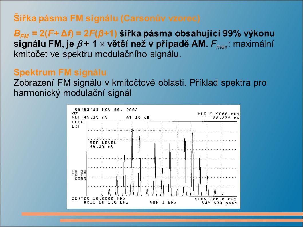 Šířka pásma FM signálu (Carsonův vzorec) B FM = 2(F+ Δf) = 2F(β+1) šířka pásma obsahující 99% výkonu signálu FM, je  + 1  větší než v případě AM. F