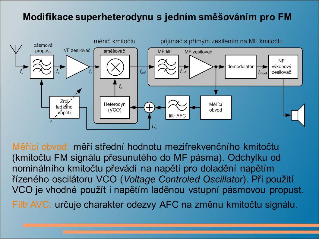 Modifikace superheterodynu s jedním směšováním pro FM Měřící obvod: měří střední hodnotu mezifrekvenčního kmitočtu (kmitočtu FM signálu přesunutého do