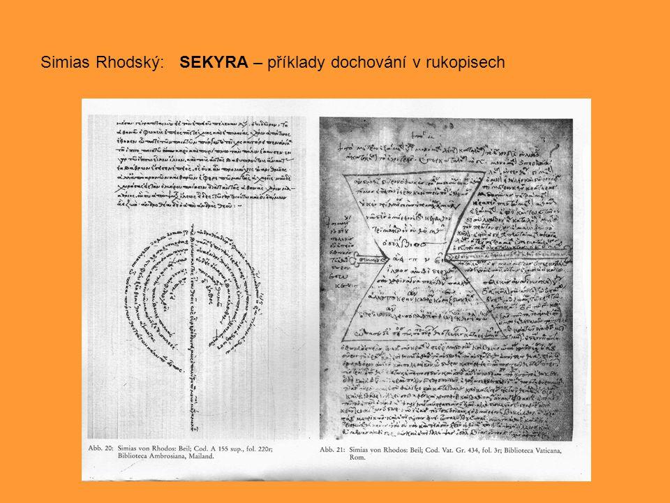 Simias Rhodský: SEKYRA – příklady dochování v rukopisech