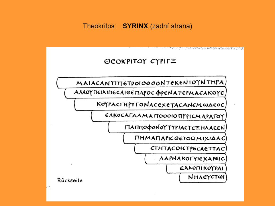 Theokritos: SYRINX (zadní strana)