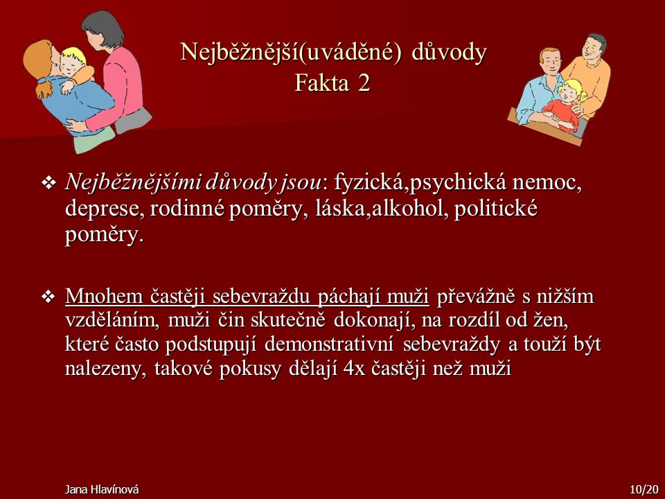 Jana Hlavínová10/20 Nejběžnější(uváděné) důvody Fakta 2  Nejběžnějšími důvody jsou: fyzická,psychická nemoc, deprese, rodinné poměry, láska,alkohol,