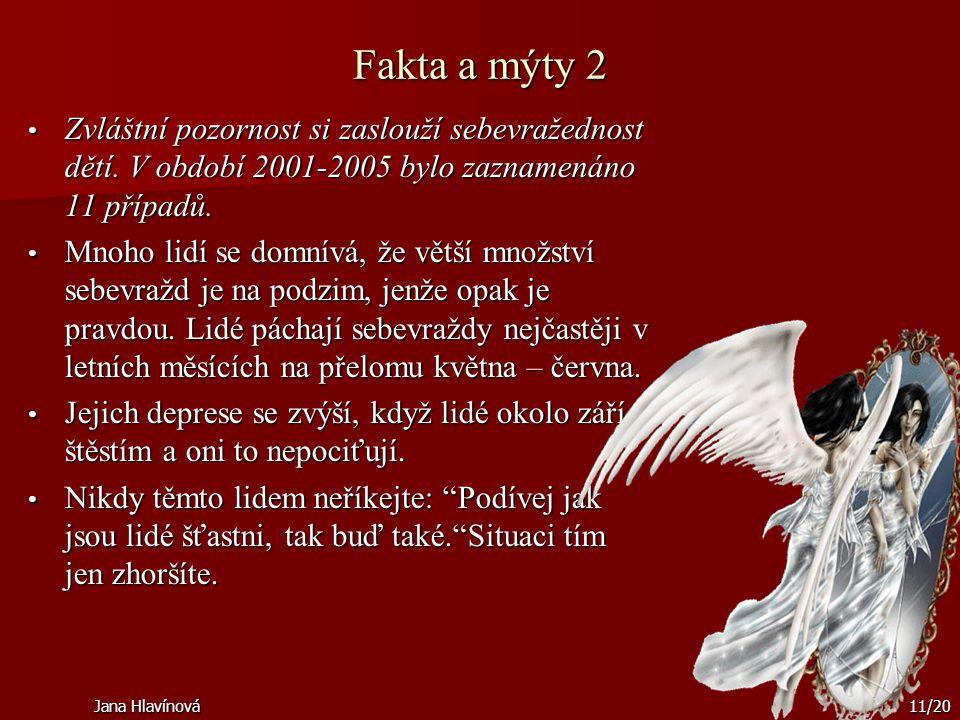 Jana Hlavínová11/20 Fakta a mýty 2 Zvláštní pozornost si zaslouží sebevražednost dětí. V období 2001-2005 bylo zaznamenáno 11 případů. Zvláštní pozorn