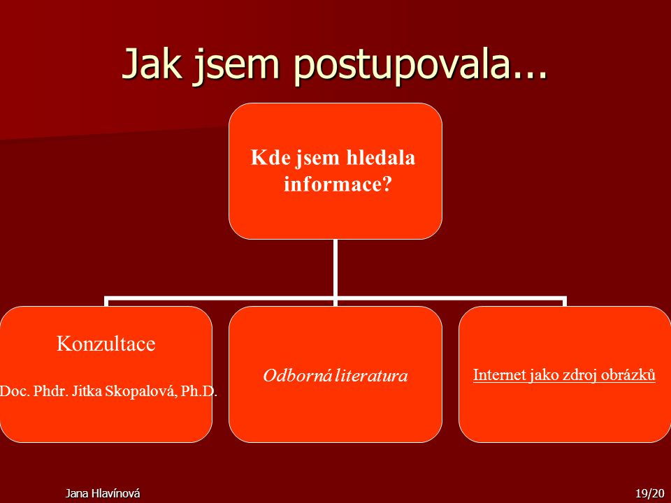 Jana Hlavínová19/20 Jak jsem postupovala... Kde jsem hledala informace? Konzultace Doc. Phdr. Jitka Skopalová, Ph.D. Odborná literaturaInternet jako z