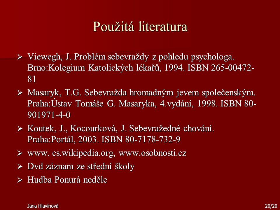 Jana Hlavínová20/20 Použitá literatura  Viewegh, J. Problém sebevraždy z pohledu psychologa. Brno:Kolegium Katolických lékařů, 1994. ISBN 265-00472-