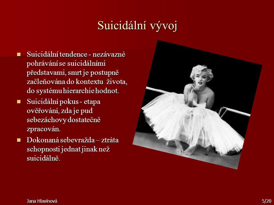 Jana Hlavínová5/20 Suicidální vývoj Suicidální tendence - nezávazné pohrávání se suicidálními představami, smrt je postupně začleňována do kontextu ži
