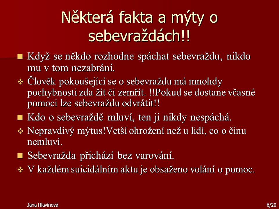 Jana Hlavínová6/20 Některá fakta a mýty o sebevraždách!! Když se někdo rozhodne spáchat sebevraždu, nikdo mu v tom nezabrání. Když se někdo rozhodne s
