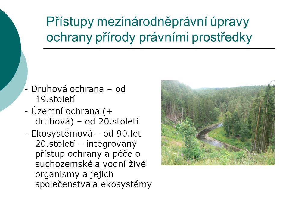 Přístupy mezinárodněprávní úpravy ochrany přírody právními prostředky - Druhová ochrana – od 19.století - Územní ochrana (+ druhová) – od 20.století -