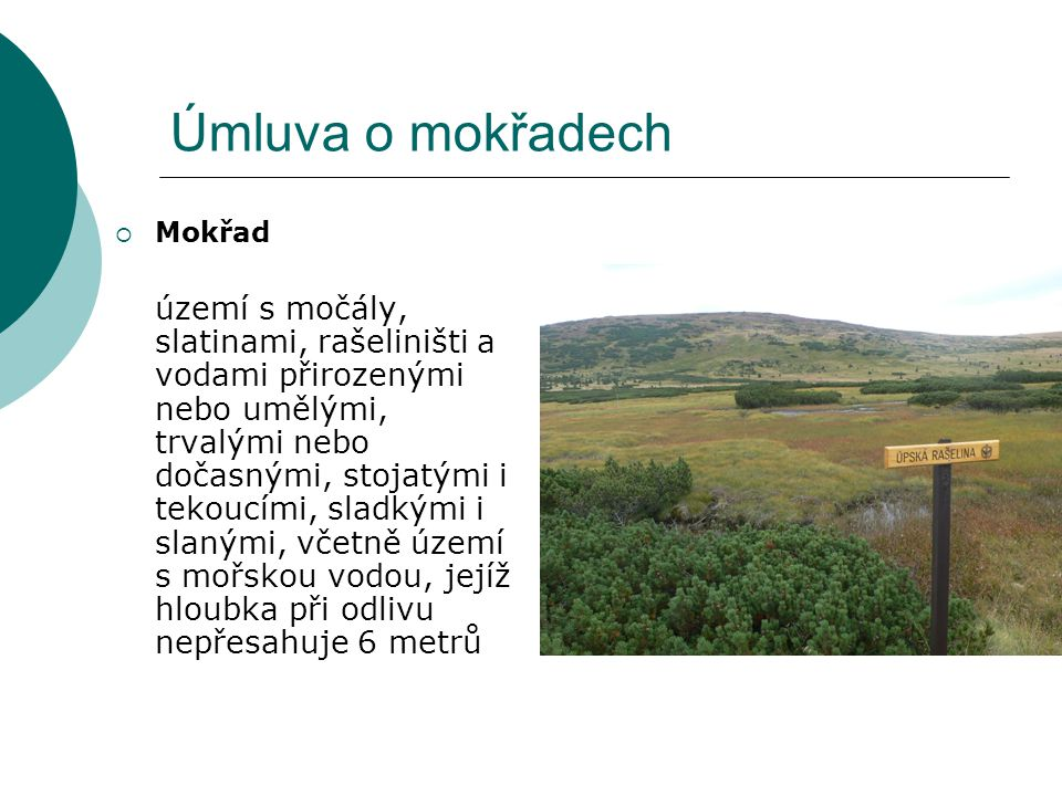 Úmluva o mokřadech  Mokřad území s močály, slatinami, rašeliništi a vodami přirozenými nebo umělými, trvalými nebo dočasnými, stojatými i tekoucími,
