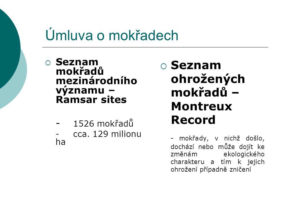 Úmluva o mokřadech  Seznam mokřadů mezinárodního významu – Ramsar sites - 1526 mokřadů -cca. 129 milionu ha  Seznam ohrožených mokřadů – Montreux Re