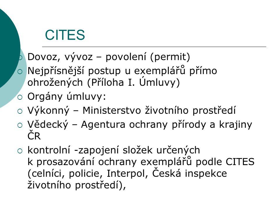 CITES  Dovoz, vývoz – povolení (permit)  Nejpřísnější postup u exemplářů přímo ohrožených (Příloha I. Úmluvy)  Orgány úmluvy:  Výkonný – Ministers