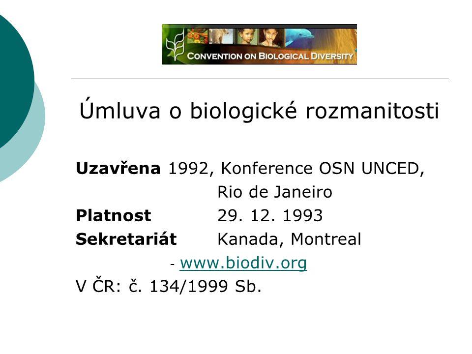 Úmluva o biologické rozmanitosti Uzavřena 1992, Konference OSN UNCED, Rio de Janeiro Platnost29. 12. 1993 SekretariátKanada, Montreal - www.biodiv.org