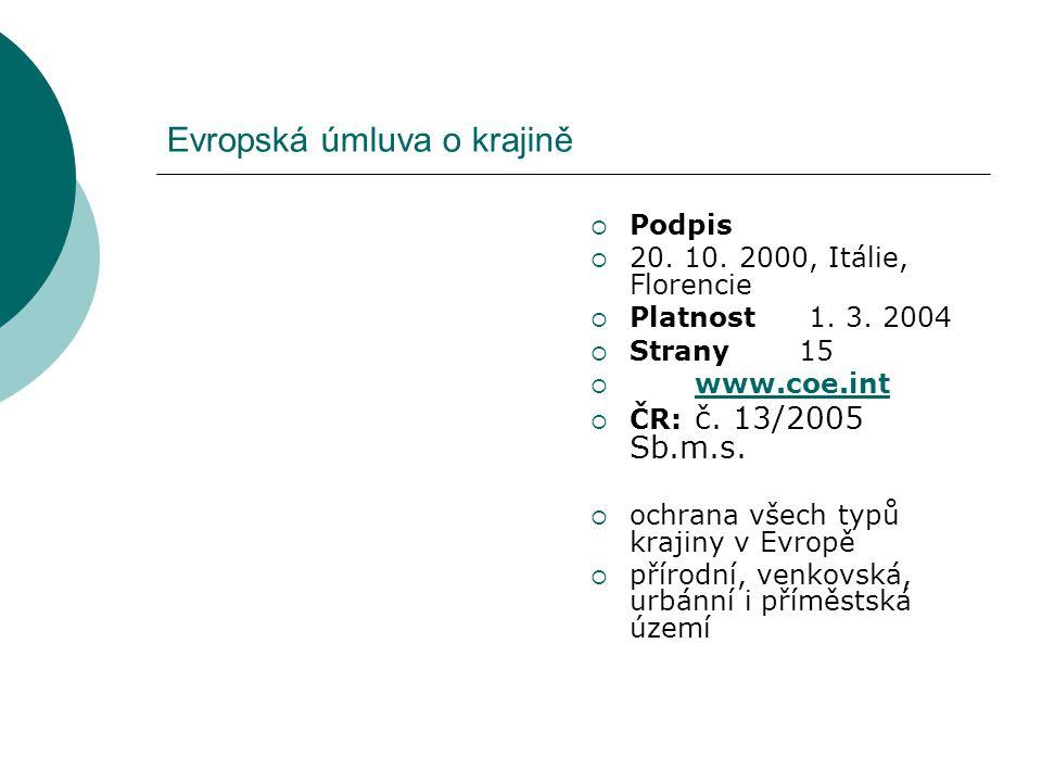 Evropská úmluva o krajině  Podpis  20. 10. 2000, Itálie, Florencie  Platnost 1. 3. 2004  Strany15  www.coe.int www.coe.int  ČR: č. 13/2005 Sb.m.