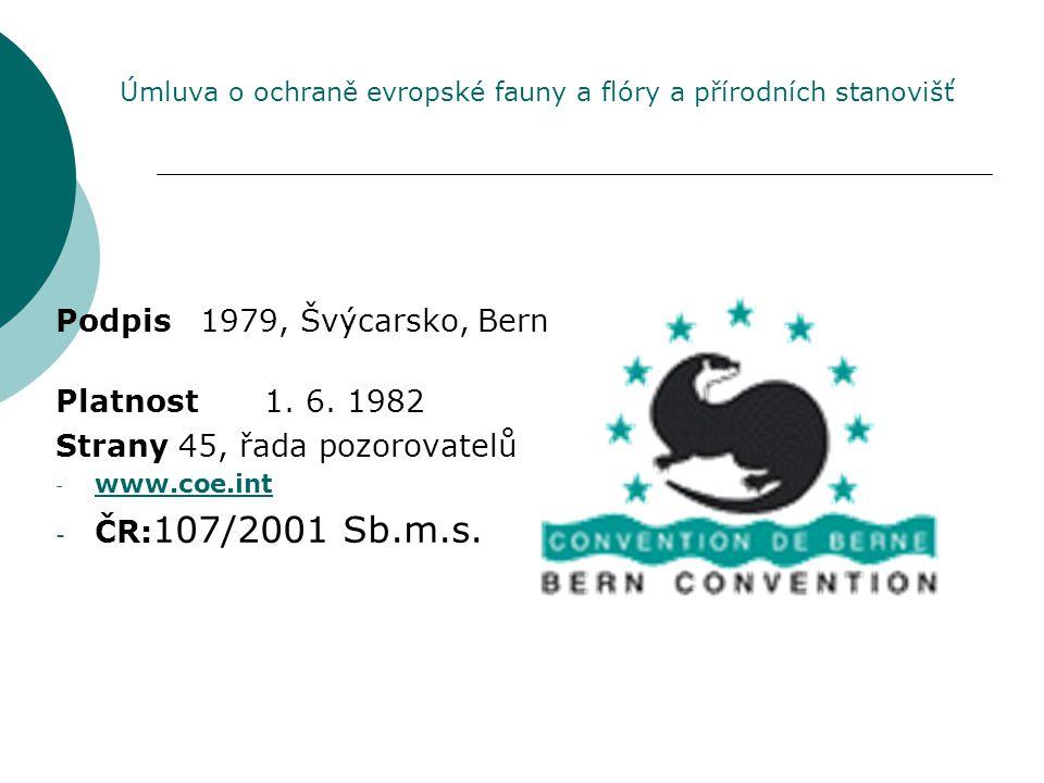 Podpis 1979, Švýcarsko, Bern Platnost1. 6. 1982 Strany 45, řada pozorovatelů - www.coe.int www.coe.int - ČR: 107/2001 Sb.m.s. Úmluva o ochraně evropsk