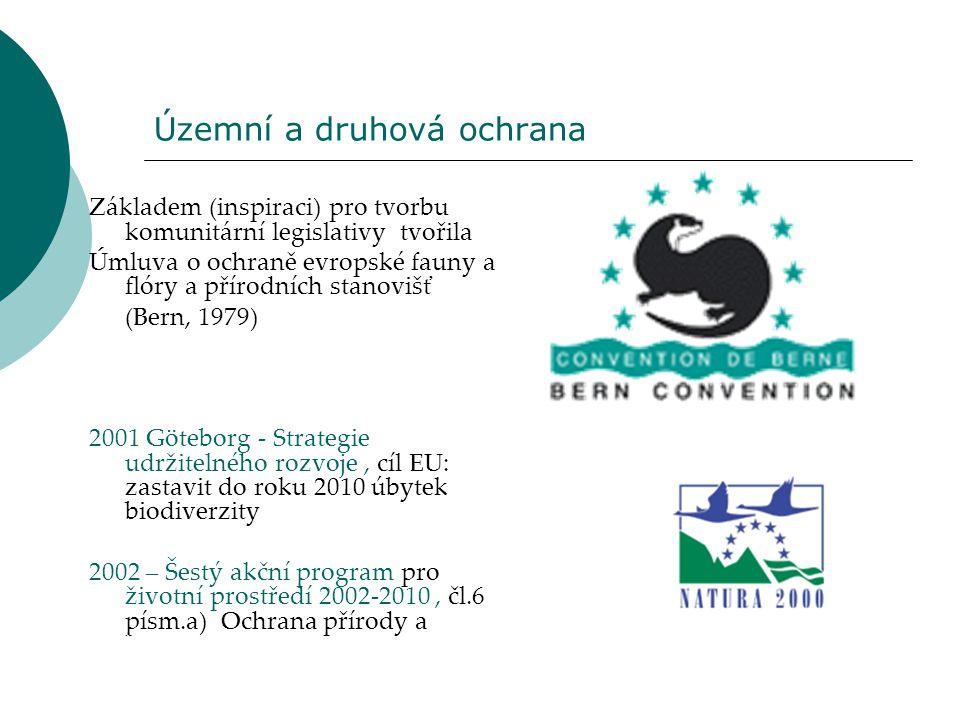Územní a druhová ochrana Základem (inspiraci) pro tvorbu komunitární legislativy tvořila Úmluva o ochraně evropské fauny a flóry a přírodních stanoviš