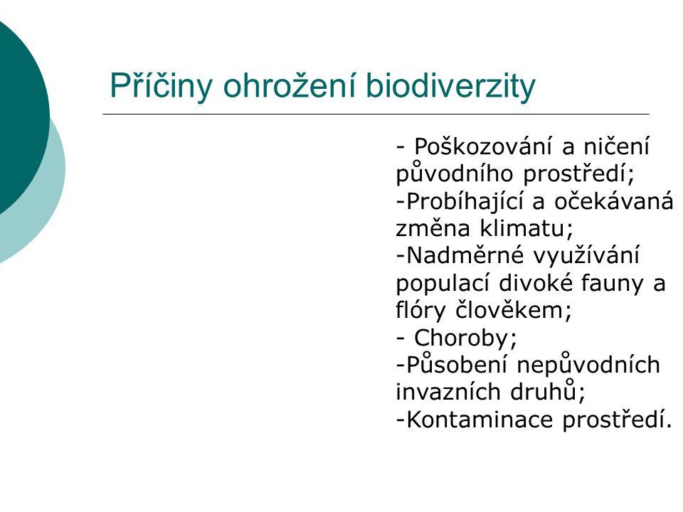 Příčiny ohrožení biodiverzity - Poškozování a ničení původního prostředí; -Probíhající a očekávaná změna klimatu; -Nadměrné využívání populací divoké