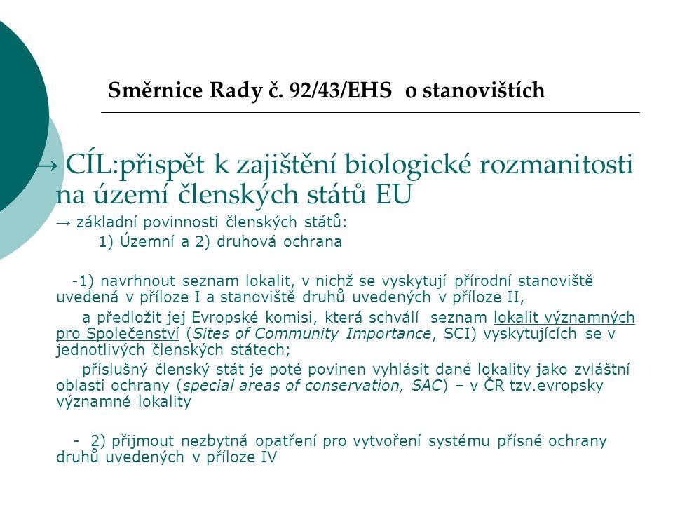 Směrnice Rady č. 92/43/EHS o stanovištích → CÍL:přispět k zajištění biologické rozmanitosti na území členských států EU → základní povinnosti členskýc